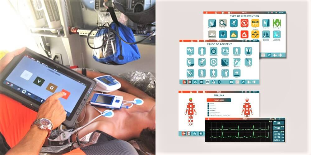 Photo of a medical practitioner in an ambulance using Zulu .E to monitor health status of a (fake) patient onboard