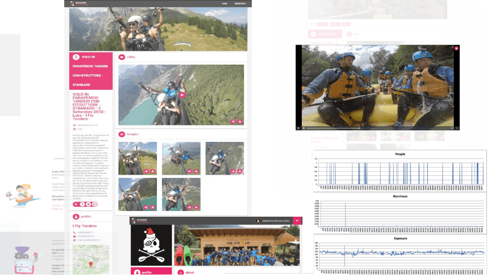 Screenshots from the Shared Media platform, where users can enjoy their personalized content